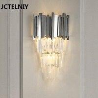 Современные хрустальные Гостиная настенный светильник Спальня серебро освещения вилла проход стены освещения