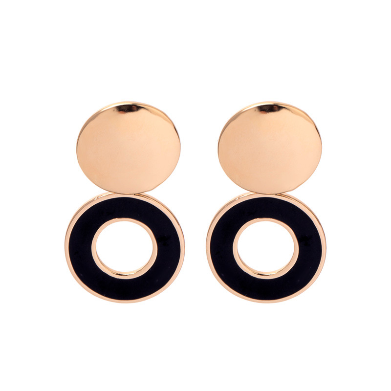 wing yuk tak Fashion Korean Earrings For Women Simple Geometric Enamel Metal Statement Stud Earrings femme 2019 in Stud Earrings from Jewelry Accessories