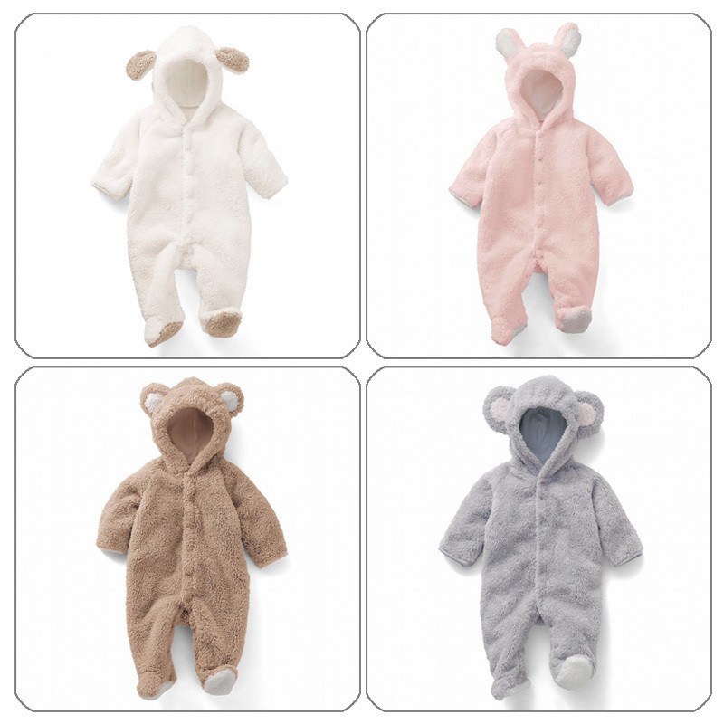 Hot sale Cute Spun Velvet Shape Romper Coral Clothes Animal Jumpsuit Romper for Children for warm clothing