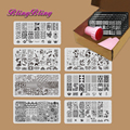 7pcs/set Nail Stamping Plates Nail Stencil Stamp Template Image For Gel Polish Nail Design Stamping Plate Stamper Scraper Kits