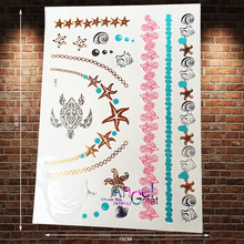 1PC Collection Gold Flash Metallic Temporary Tattoo Stickers Choker Sea Turtle Silver Dolphin Blue Shell Sexy Tattoo Kids