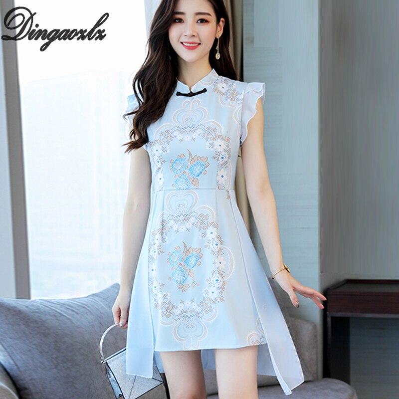 Dingaozlz women dress Vestidos Improved Cheongsam printed sleeveless elegant chiffon dress ruffle casual dress