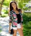 Способа новых женщин Цветочные Тонкий Вскользь Бизнес Блейзер Пиджак Пальто И Пиджаки