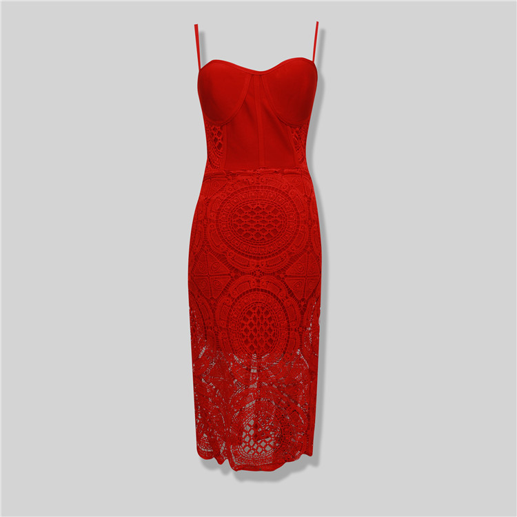 Free Shipping 2016 Summer New Sexy Women Red Lace Bodycon Bandage Dress Party Bodycon Dresses