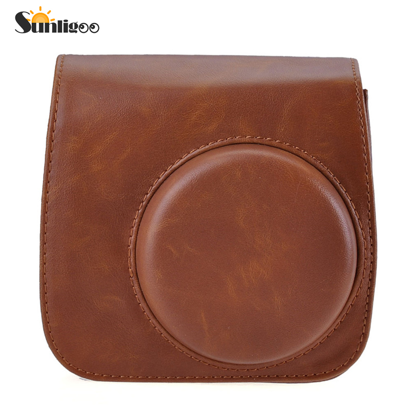 Sunligoo Hot Classic Brown PU Leather Camera Strap Bag Case For Fujifilm Instax Mini 8 Cover Pouch Protector Polaroid Camera