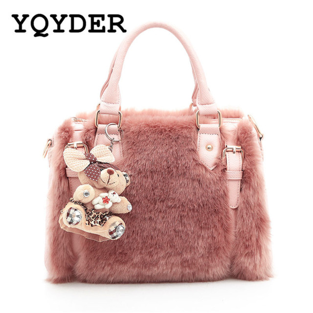 f3bd81b2381e Fashion New Fur Luxury Handbags Women Bags Designer Shoulder Bag Ladies Big  Hand Bags Boston Casual Tote with Bear Composite Bag