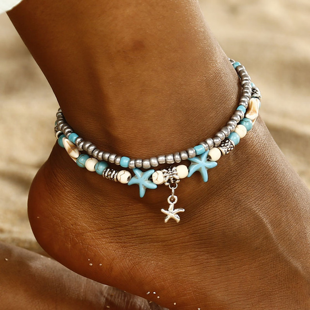 Antique 2 Layer Turtle Starfish Ankle Bracelet