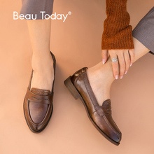 BeauToday Classic Penny Loafers Women Genuine Cow Leather British Style Pointed Toe Slip On Female Flat Shoes Handmade 27112 beautoday women pumps genuine calfskin leather top brand square toe slip on lady penny shoes handmade 15714