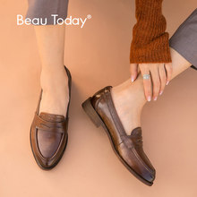BeauToday Classic Penny Loafers Women Genuine Cow Leather British Style Pointed Toe Slip On Female Flat Shoes Handmade 27112(China)