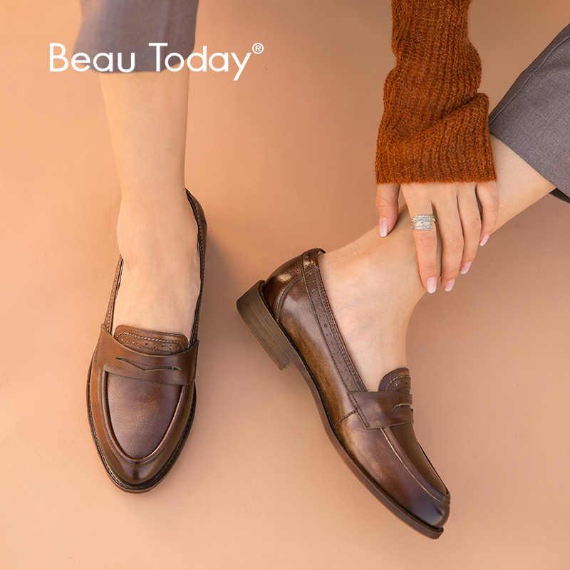 BeauToday คลาสสิก Penny Loafers ผู้หญิงหนังวัวแท้สไตล์อังกฤษชี้ Toe Slip บนรองเท้าแบนหญิง Handmade 27112
