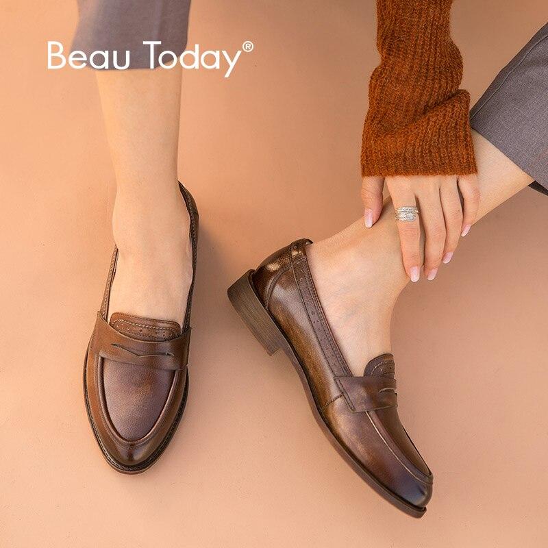 BeauToday classique Penny mocassins femmes véritable cuir de vache Style britannique bout pointu sans lacet femmes chaussures plates à la main 27112