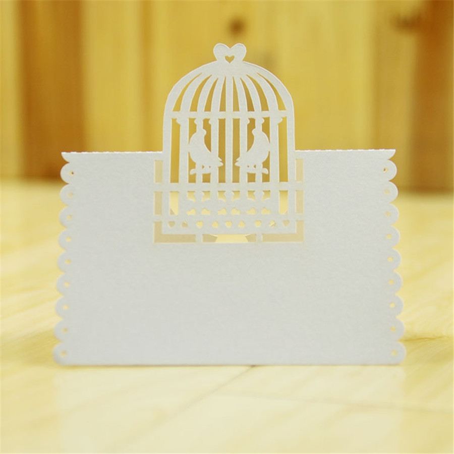 New Laser Cut Table Place Name Card White Birdcage Name Card Wedding ...