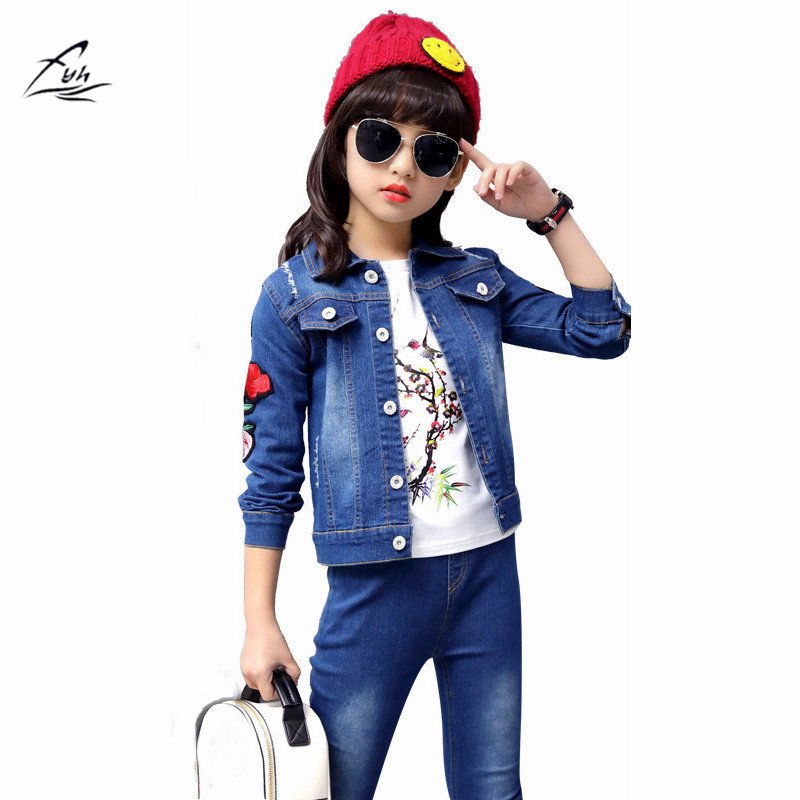 FYH School Girls Denim Clothing Set Autumn Spring Jean Jacket+Denim Pants Jeans 2pcs Floral Embroidery Children Girl Denim Suit men s cowboy jeans fashion blue jeans pant men plus sizes regular slim fit denim jean pants male high quality brand jeans