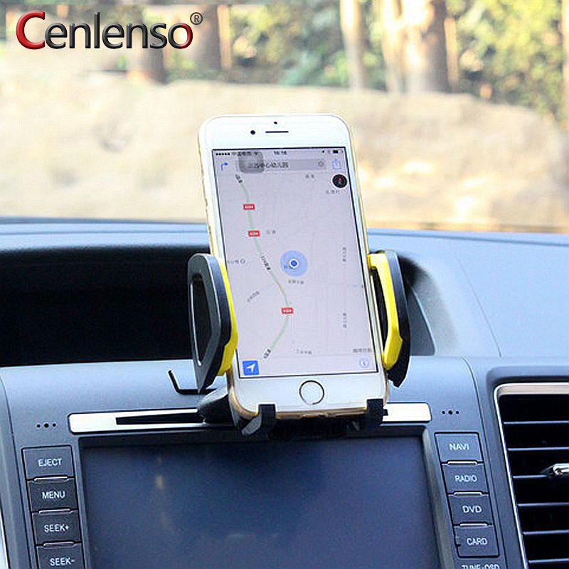 Cenlenso Universal Car Air Vent Phone Holder Mount CD Slot Bracket 360 Degree Rotate Multifunction Navigation For IPhone Samsung