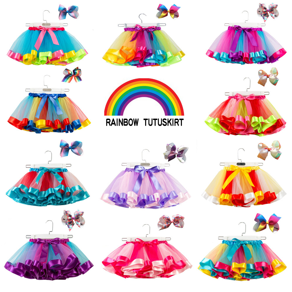 Summer Style Girl Skirt Baby Kids Children Tutu Skirt Short Rainbow Princess Costume Kids Colorful Dance dress with bowknot