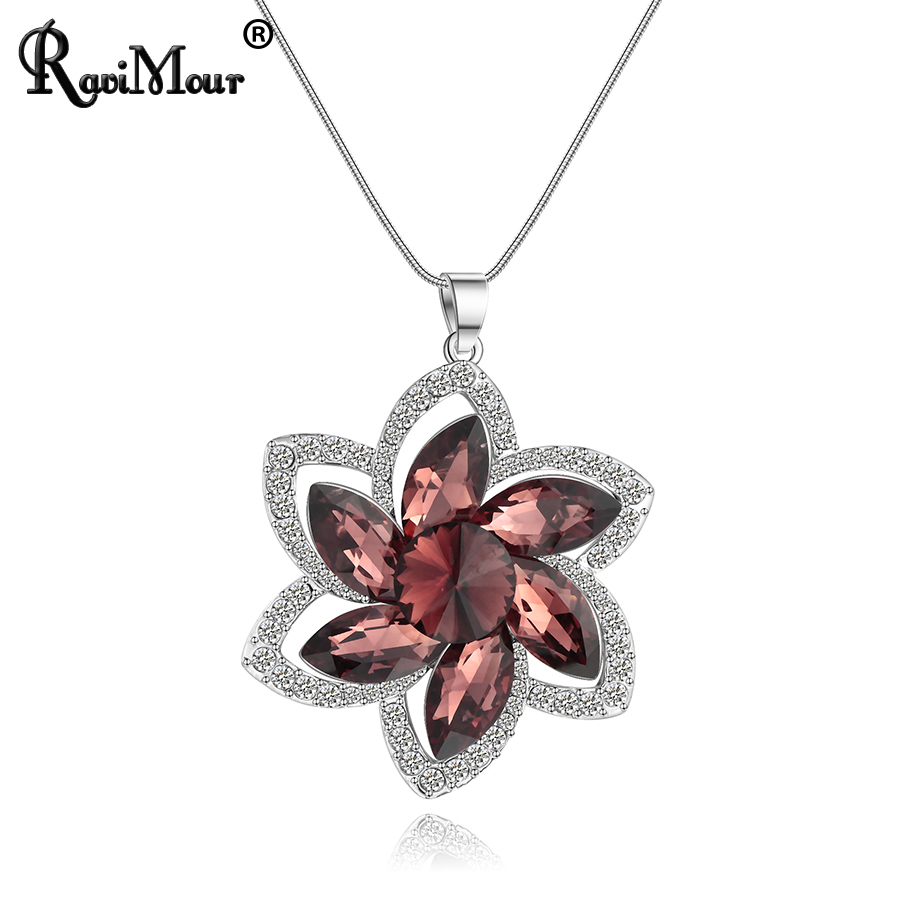 RAVIMOUR Collier Femme Crystal Flower Women Necklaces & Pendants Long Chain Maxi Necklace Chokers Jewelry 2017 New Year Gift