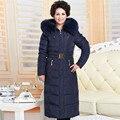 Cuello de piel Con Capucha de la chaqueta más el tamaño 5XL casaco feminino, mujeres parka de invierno, largo pato blanco abajo parka abrigo moda TT1343