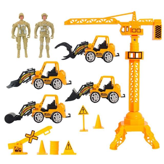 13 unids/lote tire hacia atrás emulational convoy de camiones militares conjuntos de vehículos grúa de construcción para niños juguete excavadora bulldozer toy cars