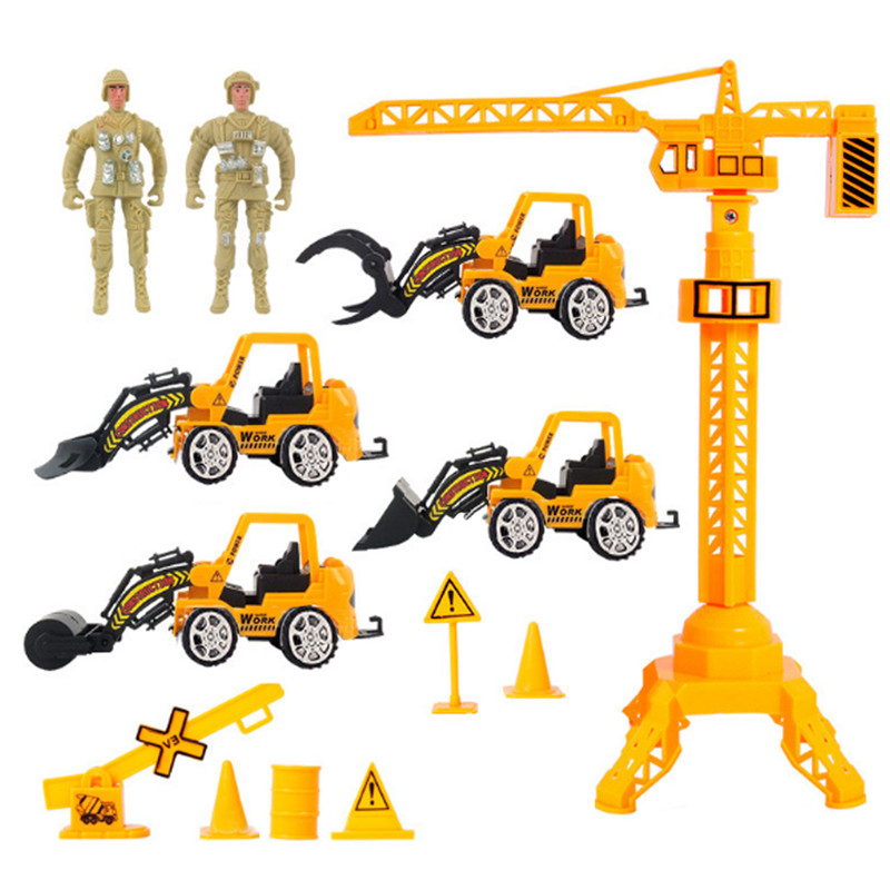 13pcs/lot  Pull Back Emulational Military Truck Convoy Sets Vehicles Building Crane Kids Toy Excavator Bulldozer Cars Toy