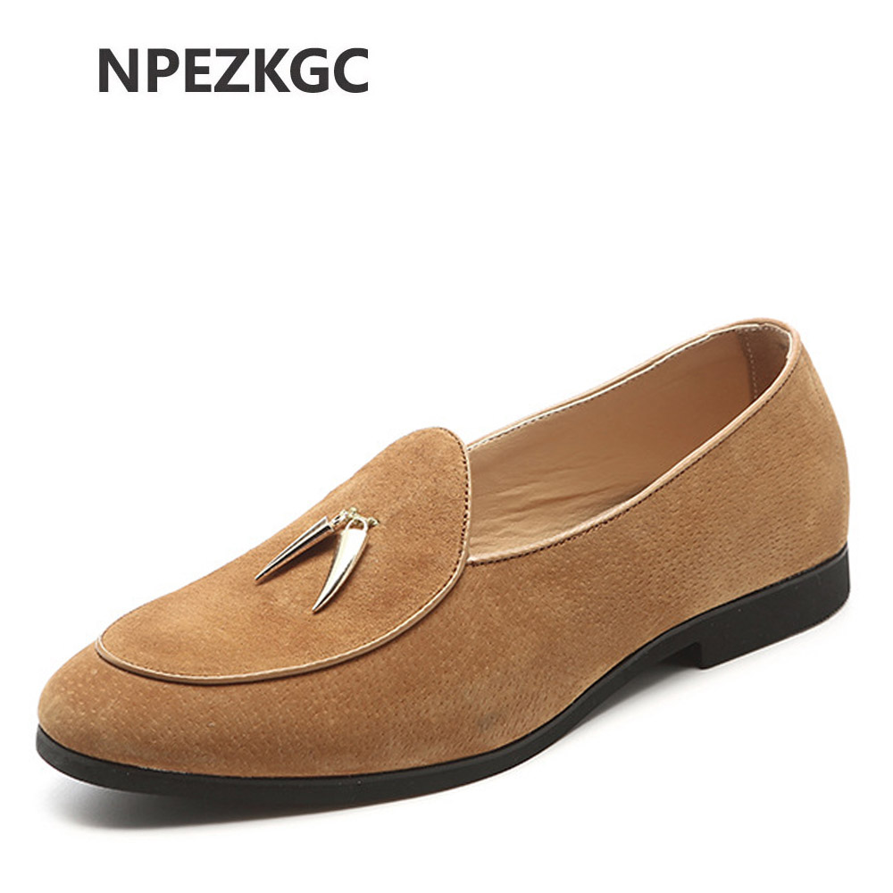 NPEZKGC New Casual Mens Shoes Suede Men Loafers Moccasins Fashion Low Slip On Men Flats Shoes oxfords Shoes Big size 45,46,47,48 suede slip on mens shoes