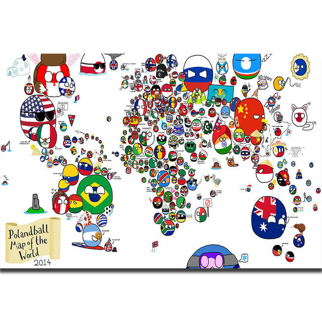 S1871 Flags Of The World Map Kids Education Funny Wall Art Painting