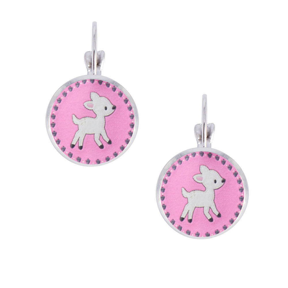 2016 On Sale Gymboree Mtm Current Infant Photo 14mm Glass Cabochon Clip  Earrings, Cute Animal