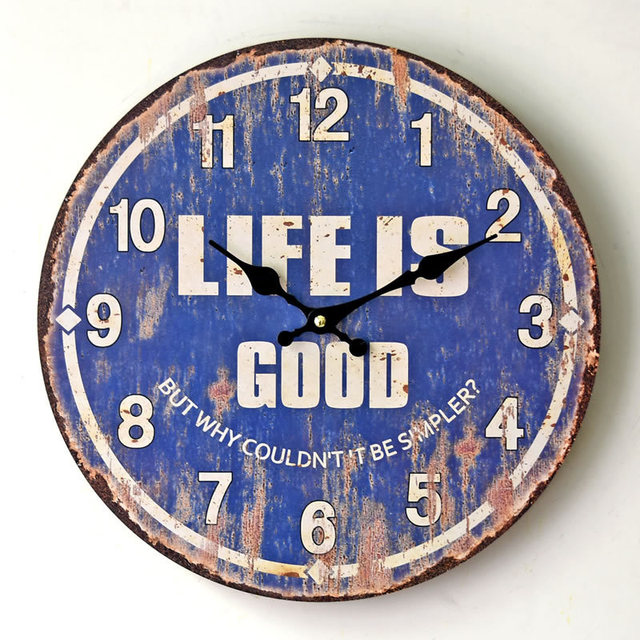 Vintage Wooden Wall Clock For Kitchen Bedroom Nostalgic Home Decorative  Wall Watch Living Room Coffee Bar