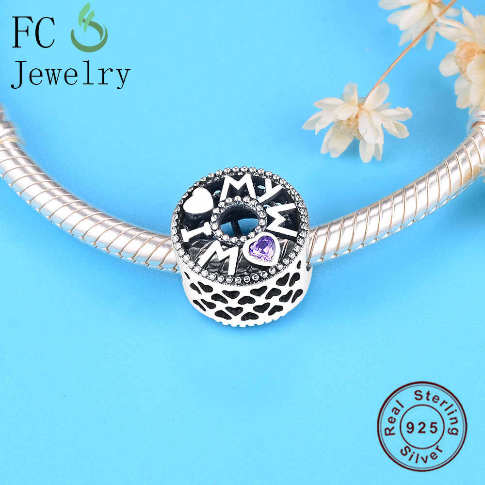 FC Jewelry Fit Original Pandora Charm Bracelet  925 Sterling Silver Letter Love Mom Heart Purple Zircon Stone Bead Berloque 2019