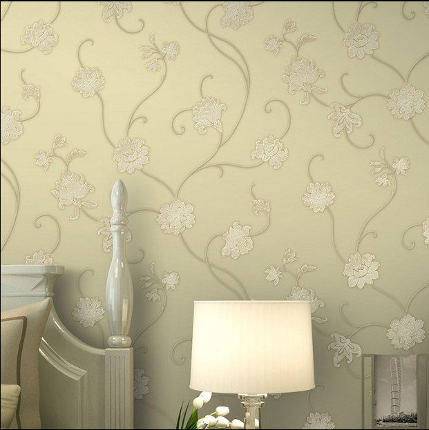 2016 new hot selling rural non-woven wall paper bedroom warmth Magnolia flower embroidery wallpaper sitting room TV setting wall 2016 new best selling non woven wallpaper red blue mediterranean contracted sitting room bedroom tv setting stripe wall paper