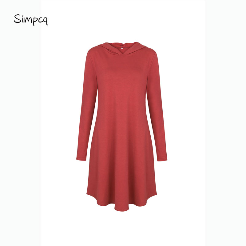 Wanglingsong Hooded Cotton Autumn Spring 4 Colors For Choice Leisure Loose Casual Dresses For Woman Out Home Black Red Blue