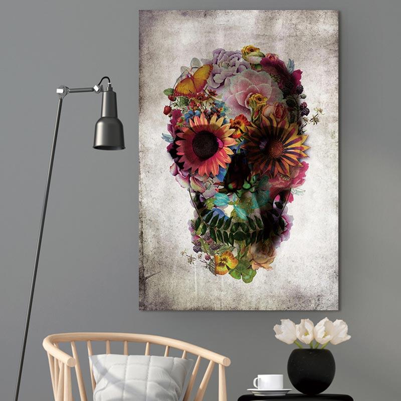 Skull & Flowers Canvas Print Wall Art
