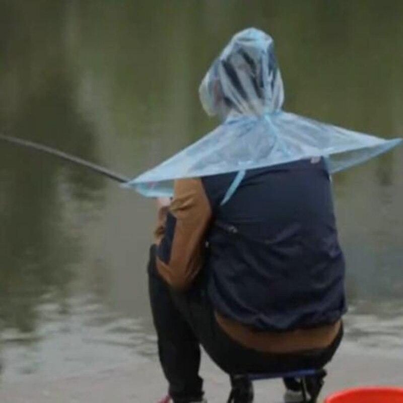 Sáng tạo Áo Mưa Dù Nón Hat Golf Đánh Cá Dù Người Đàn Ông Phụ Nữ Mưa Coat Bìa Suốt Có Thể Gập Lại Treo Ngoài Trời size L