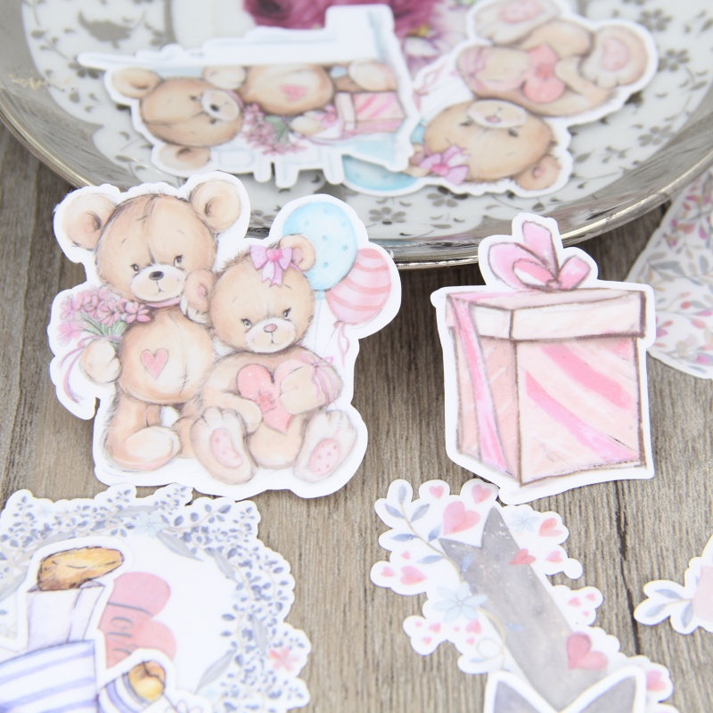 22 Pcs / Set Hand-painted Watercolor Bear Doll Flower Account Diary Album DIY Decorative Homemade Stickers Package Scrapbooking