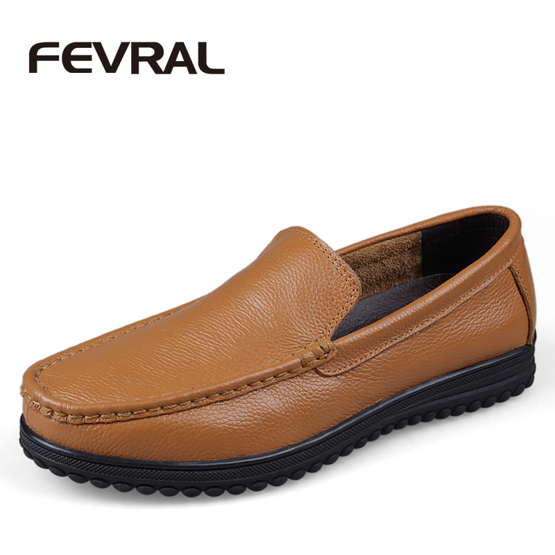 FEVRAL Brand Plus Size 47 Genuine Leather Shoes Men Flats Shoes For Men Soft Loafers Slip on Classical Dress Moccasins Men Shoes new style comfortable casual shoes men genuine leather shoes non slip flats handmade oxfords soft loafers luxury brand moccasins