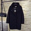 Теплый Толстый Водолазка Шерсть Женщины Плюс Размер 3XL 4XL Случайные Свободные Плащ Длинные Пальто Черного QYL134