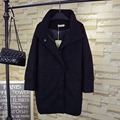 Warm Thick Turtleneck Wool Blends Women Plus Size 3XL 4XL Casual Loose Cloak Long Coats Black QYL134