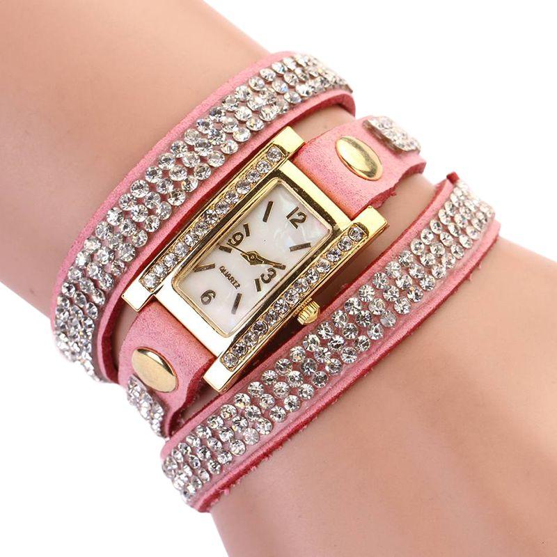 Women Watches Rhinestone Retro Luxury Women Diamonds Multilayer Bracelet Quartz Wristwatches Rectangle Crystal Clocks 3