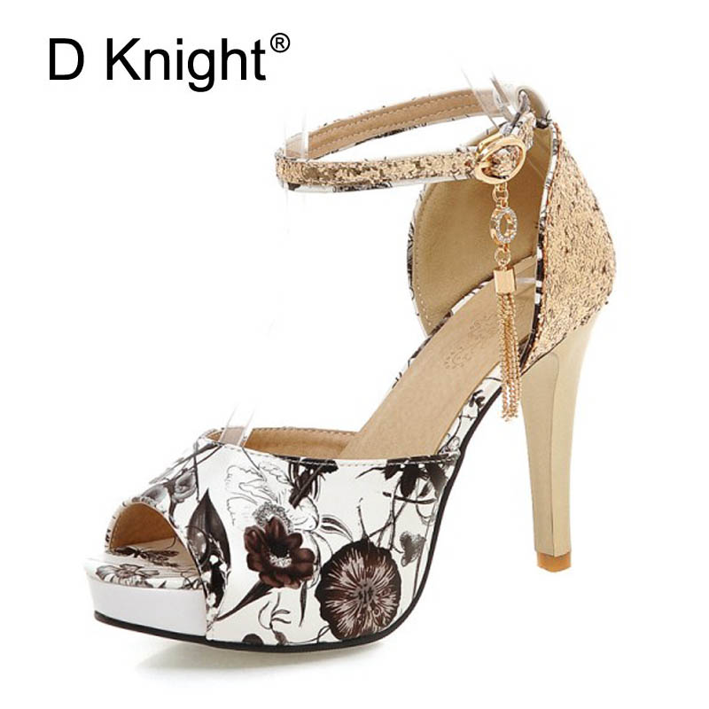 Summer Glitters Gladiator Sandals Platform Shoes Woman Casual Buckle High Heels Plus Size 30-47 Women Wedding Shoes Bling Pumps gladiator sandals 2017 summer style comfort flats casual creepers platform pu shoes woman casual beach black sandals plus us 8