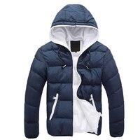 Повседневное Для мужчин зимняя куртка парка с капюшоном XXL на молнии утепленная куртка Для Мужчин's Теплая парка зимние пальто плюс Размеры ...