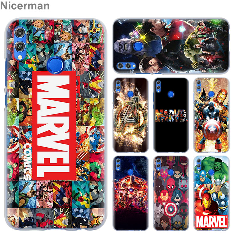 <font><b>Marvel</b></font> Avengers Super Heroes Phone <font><b>Case</b></font> for <font><b>Huawei</b></font> Honor 8X 8A Pro 8C 8S 9 10 Lite 20i Honor Play <font><b>Y7</b></font> Y9 <font><b>2019</b></font> Cover <font><b>Case</b></font> Coque image