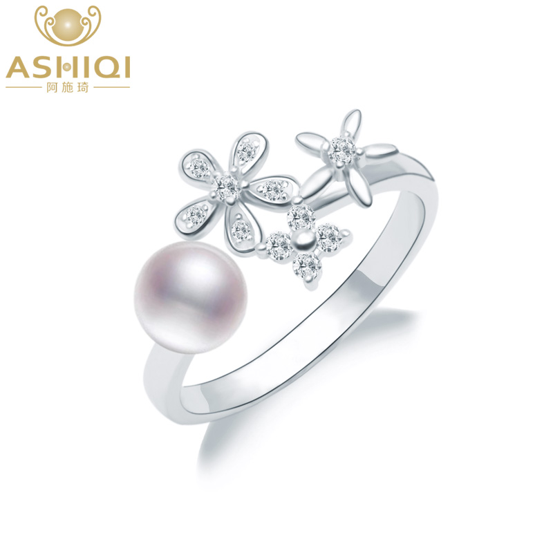 ASHIQI Genuine 925 Sterling Silver Wedding Ring Natural Freshwater Pearl Flower Jewelry For Women