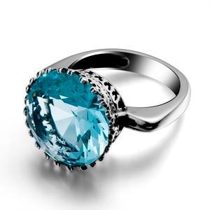 Image 3 - Szjinao Big Vintage Aquamarine Ring For Women Real 925 Sterling Silver Branded Jewellery Handmade Round Gemstones Wedding Ring