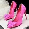 [328] de zapatos zapatos de mujer de La nueva manera dulce fino con ultra de tacón alto en punta de terciopelo arco arco zapatos de las mujeres. PSDS-305-2