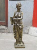 free 31Western Art Bronze sculpture Statue charming nude woman belle BOOK beauty fast