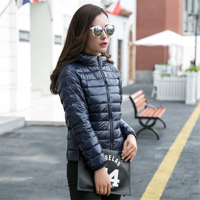 2017 Women Winter Hooded Coats Ultra Light Hooded Duck Jackets Female Solid Long Sleeve Slim Parka Zipper Outerwear Plus Size