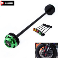 For Kawasaki Z800 Z1000 Motorcycle CNC Aluminum Front Axle Slider Frame Sliders Anti Crash Protector Green