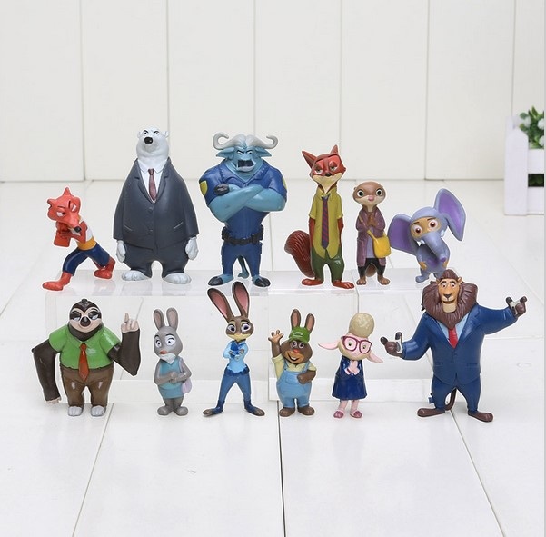 12pcs/set 4-8cm Zootopia toys Action Figure Doll Toy PVC Zootopia Figure Toys Rabbit Judy Cop Fox Nick Cartoon Brinquedos image
