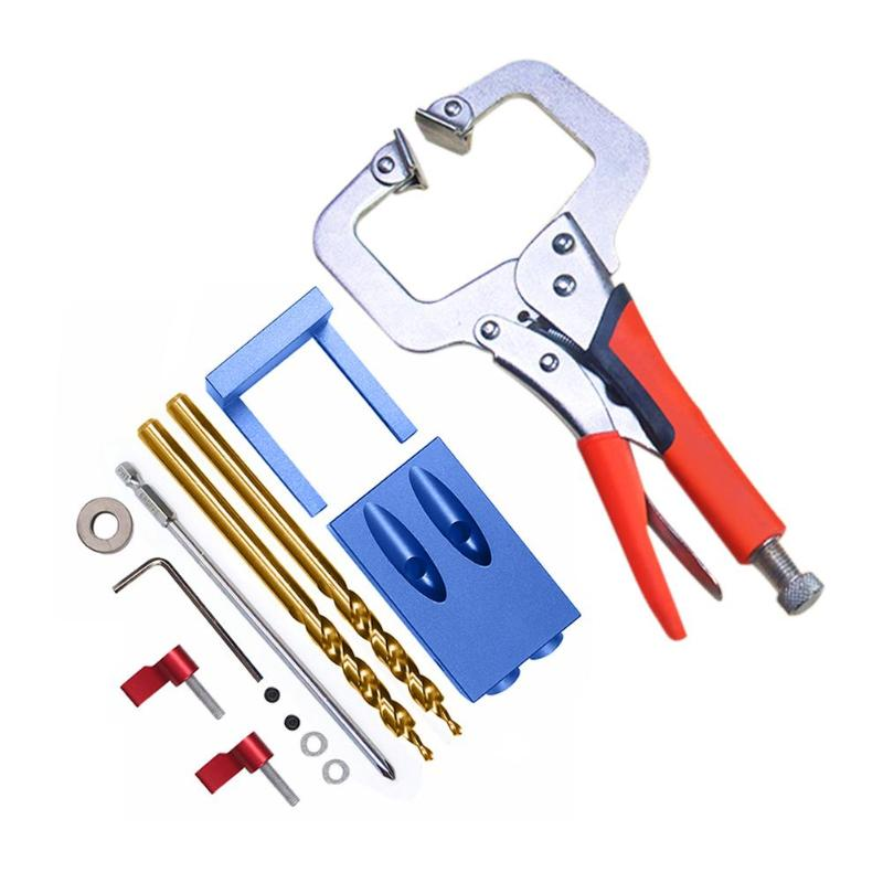 Pocket Hole Jig Kit System Screwdriver Step Drill Bit Inclined hole locator For Wood Working Joinery Tool Set Wood Work Tool Set pocket hole jig drill guide hole positioner locator with clamp woodworking tool kit suitable for joining panel furniture