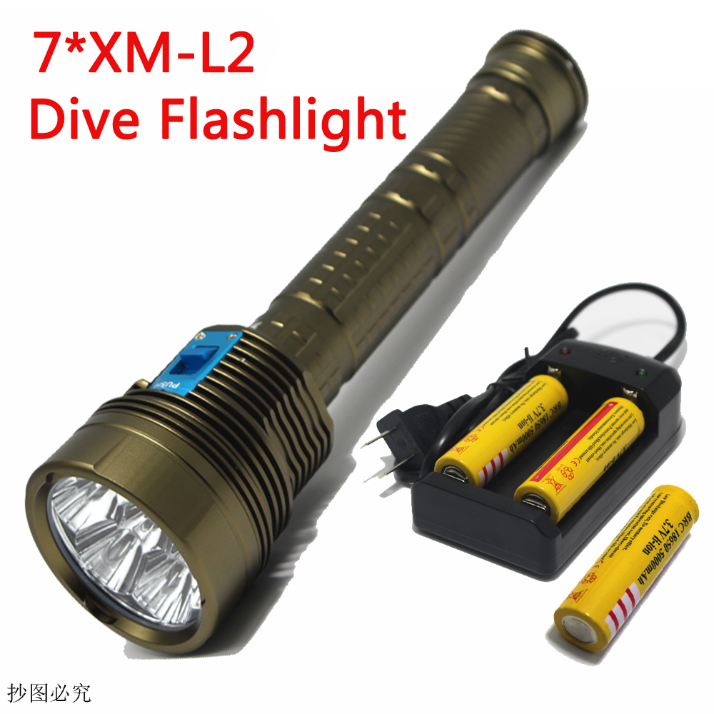 14000LM  XML-L2 LED Waterproof Underwater Dive Diving Flashlight Dive Torch Light 200 Meter Lamp for Diving Lantern By 26650