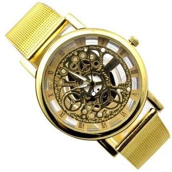 Brand Luxury Fashion Casual Stainless Steel Men Skeleton Women Unisex Dress Wristwatches Full Steel Quartz Hollow Sports Watches